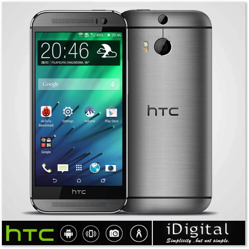 """Unlocked Original HTC ONE M8 Mobile Phone Android OS 4.4 5.0"""" 1080P 2GB RAM Quad Core 2560MHz 16GB/32GB 4MP WCDMA/LET Smartphone(China (Mainland))"""