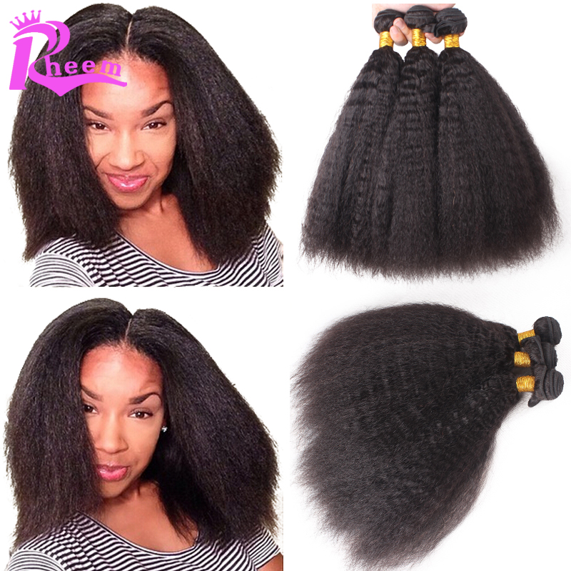 Unprocessed virgin indian hair kinky straight hair weave 3 hair bundles coarse yaki 7A cheap human hair extensions for sale