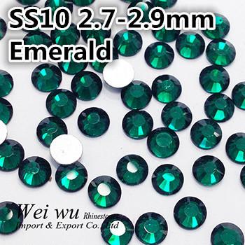 SS10 2.7~2.9mm Emerald Machine Cut Loose 1440pcs Strass Flatback Nail Art Rhinestones(China (Mainland))