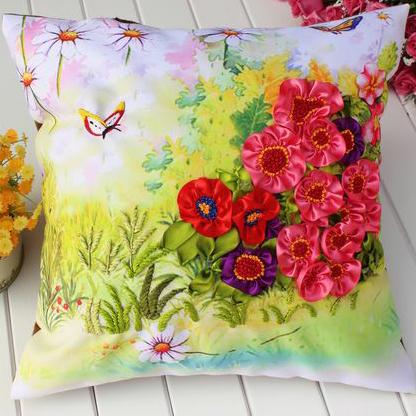 DIY ribbon embroidery car sofa pillow cusion set 45x45cm handcraft cross stitch kit needlework cross stitch pillow sofa cushion(China (Mainland))