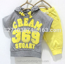 2016 summer girls boys cream 369 children clothing set baby clothes short-sleeve T-shirt hoodies pant kids sport suit Free Ship.(China (Mainland))