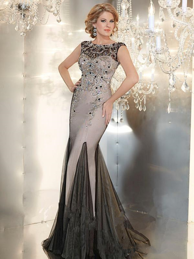 Sexy Designer Long Evening Gowns Crystals Beaded Evening Dresses 2015 Luxury Mother of the Bride Dresses