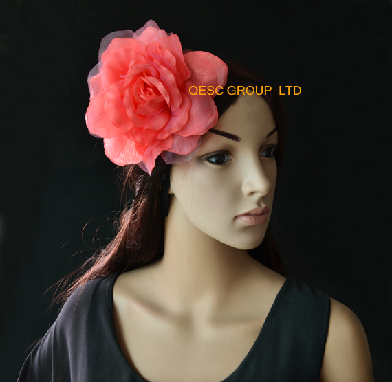 Coral pink 15cm silk flower handmade flower for fascinator,hair accessory.with brooch pin hair clip.(China (Mainland))