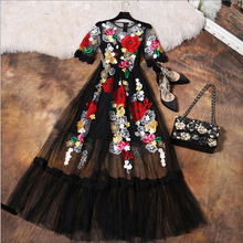 Buy Luxury Dress New 2017 Summer Fashion Designer New Elegant Flower Embroidery Appliques Black Mesh Slim Women Vintage Long Dress for $54.40 in AliExpress store