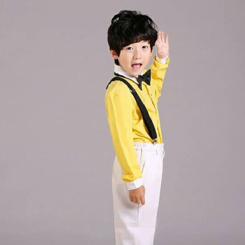 shirts Korean boy's solid color shirts children simple orange colour matching casual dress cute stage team game lemon yellow(China (Mainland))