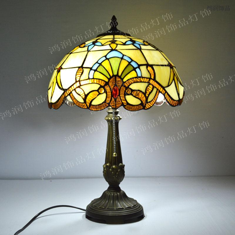 12 Inch Tiffany Table Lamp Stained Glass European Baroque Classic Living Room Luminaria de Mesa E27 110-240V(China (Mainland))