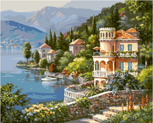 2016 Home Decor Frameless Pictures Painting New Canvas Landscape lakeside town By Numbers Digital Oil Painting(China (Mainland))
