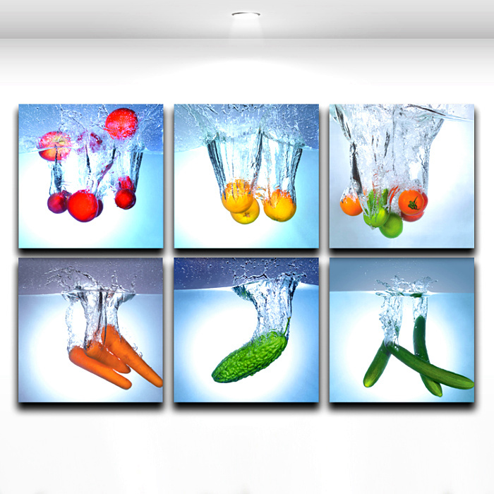 Modern wall art painting fruit and vegetable kitchen for Kitchen dining room wall art
