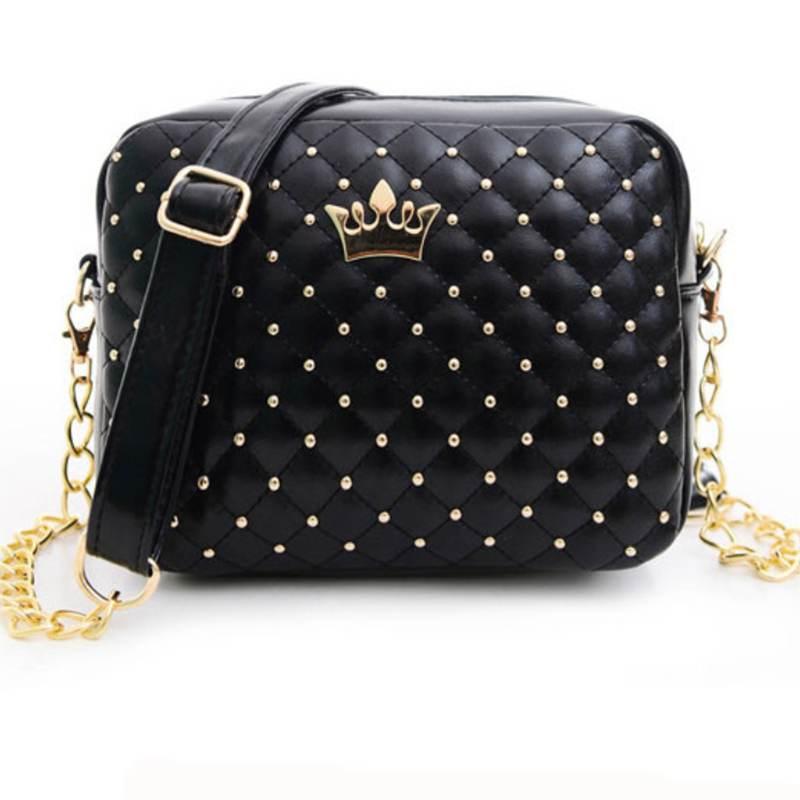 Excellent Quality 2016 Womens Bag Fashion Women Messenger Bags Rivet Chain Shoulder Bag High Quality PU