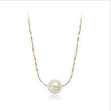 N13145 hot sale item one white pearl necklace zinc alloy silver color rose gold color with imitation pearl fashion women jewelry(China (Mainland))