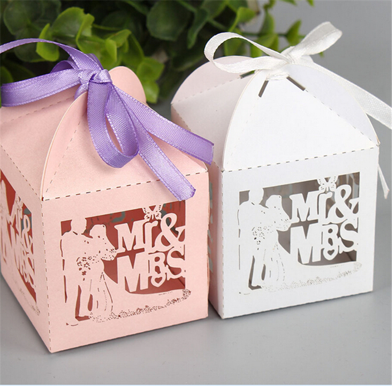 New White Wedding Favors And Gifts Box Mr Mrs Laser Elegant Luxury Decoration Party Event Supplies Paper Candy Bag For Guests(China (Mainland))