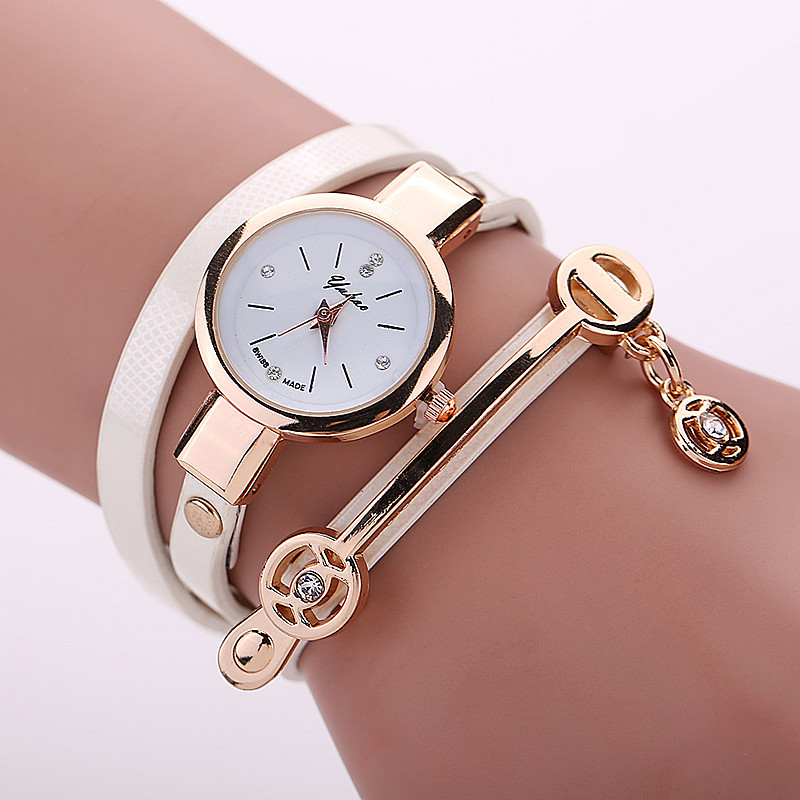 Simple Style Chain Leather Shining Bracelet Women Quartz Watches Casual female Clock Fashion Dress Wrist Watch montre femme<br><br>Aliexpress