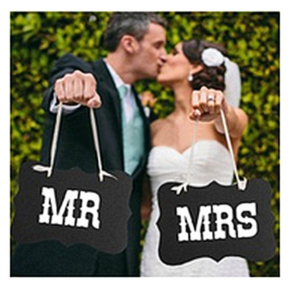 Free Shipping DIY Black Mr Mrs Paper Board Ribbon Sign Photo Booth Props Wedding decoration Party