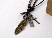 Cool Mens Womens Unisex Charms Choker Genuine Leather Punk Vintage Style Pendant Necklaces Fashon Jewelry Cross