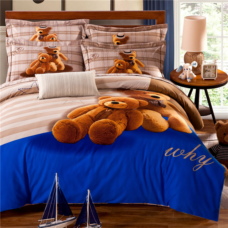 teddy bear bedding set kids king size queen twin quilt. Black Bedroom Furniture Sets. Home Design Ideas