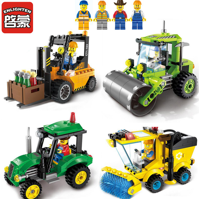 ENLIGHTEN City Trucks Juguetes Compatible Legoe Building Blocks Toys for Children Kids Boys Gifts(China (Mainland))