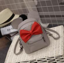 2016 spring new female bag quality pu leather women bag Korean version of Mickey ears sweet bow College Wind mini backpack(China (Mainland))