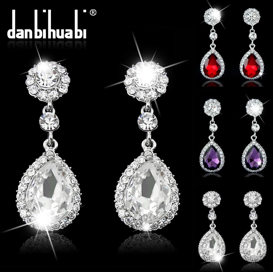 Fine Wedding Indian Jewelry 2014 Fashion High Quality Platinum Rhinestone summer Style Bridal silver Drop Earrings for women(China (Mainland))