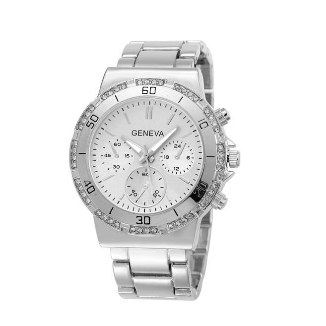Geneva Faux Chronograph Quartz Classic Round Women Crystals Watch Classic Luxury Stainless Steel Quartz Analog Wrist Watch(China (Mainland))