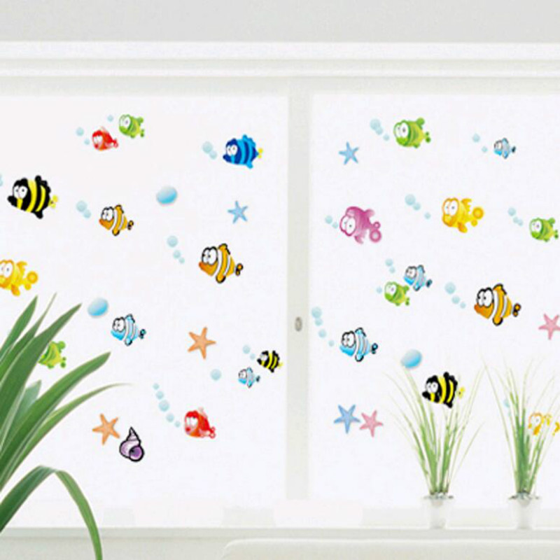 Free shipping Happy little fish bathroom bathtub sticker wall stickers Home decorations swimming pool kindergarten stickers(China (Mainland))