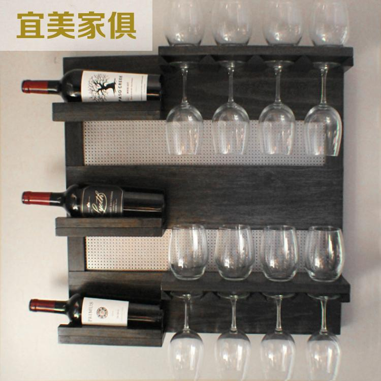 American Village Wine goblets rack creative wall hanging retro to do the old wood bar suspension bulkhead racks<br><br>Aliexpress