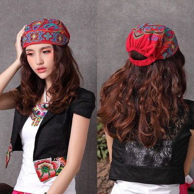 National trend winter and autumn casual embroidery hats flowers vintage bandanas knitted hat women's akkadian chinese style cap(China (Mainland))