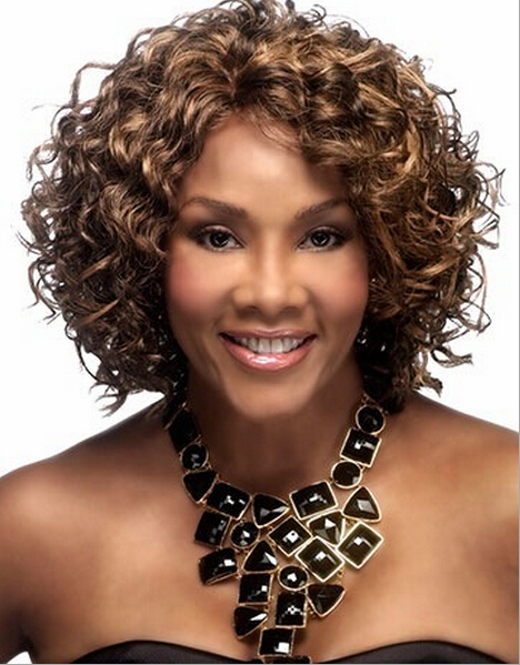 2015 New Arrival High Quality Synthetic Hair Fashionable Highlights Short Curly Lace Wig In