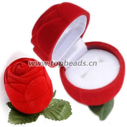 New Velveteen Jewelry Gift Box, for finger ring Jewelry box, Fashion Wholesales rose gift box, 72pcs/lot(China (Mainland))