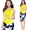 Womens Office Dress Floral Print Patchwork Working Sheath Sundress Sleeveless Bodycon Office Lady Pencil Dress Elegant
