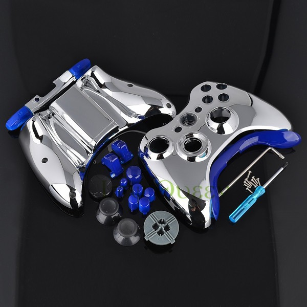 FOR xbox 360 controller chrome silver shell08
