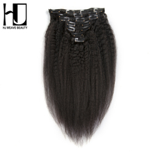 Buy HJ WEAVE BEAUTY Kinky Straight Clip Hair Extensions 100G Human Hair 7Pc/set Remy Hair Natural Color 14-22 Inch for $53.02 in AliExpress store