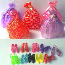 Lot 15 Items = 5 Pcs Fashion Handmade Dresses and Clothes 10 Shoes For Barbie Doll(China (Mainland))