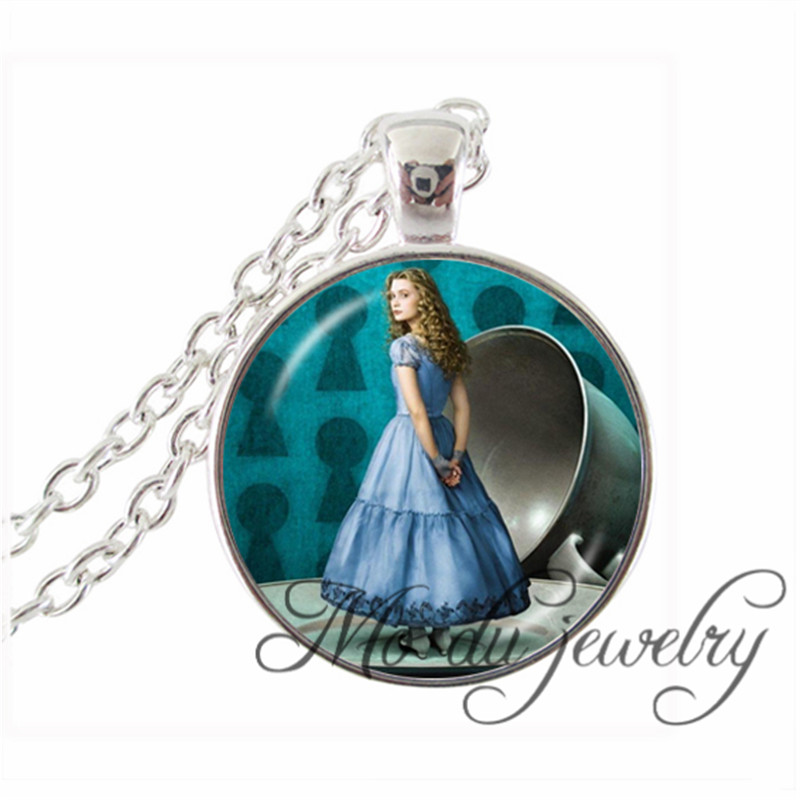 Alice In wonderland Adalheidis Glass Pendants The Princess Alice Sliver Plated Chain Choker Necklaces Children's Stories Jewelry(China (Mainland))