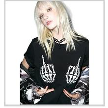 S-XXL New Fashion T-Shirt Women Short Sleeve O-Neck Black Thin Loose Tops Finger Bones Skull Punk Skeleton Print T-Shirts(China (Mainland))
