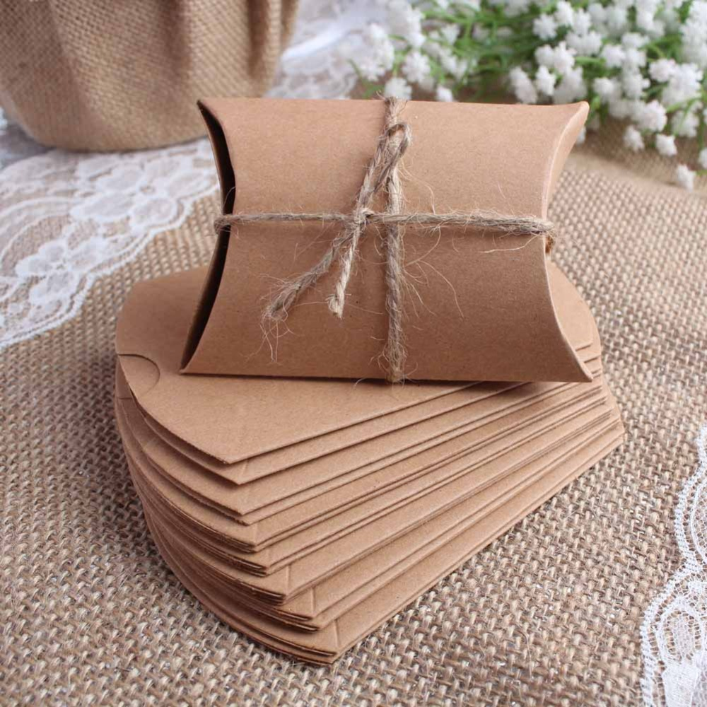 Wedding Gift Boxes 100pcs New Style Kraft Pillow Shape Wedding Favor Gift Box ,Party Candy Box Wholesales Festive Party Supplies(China (Mainland))