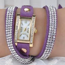 2015 Jewelry Bracelet Women Rhinestones Quartz Bracelet Watch Timepiece with PU Leather Watches PMHM560 60