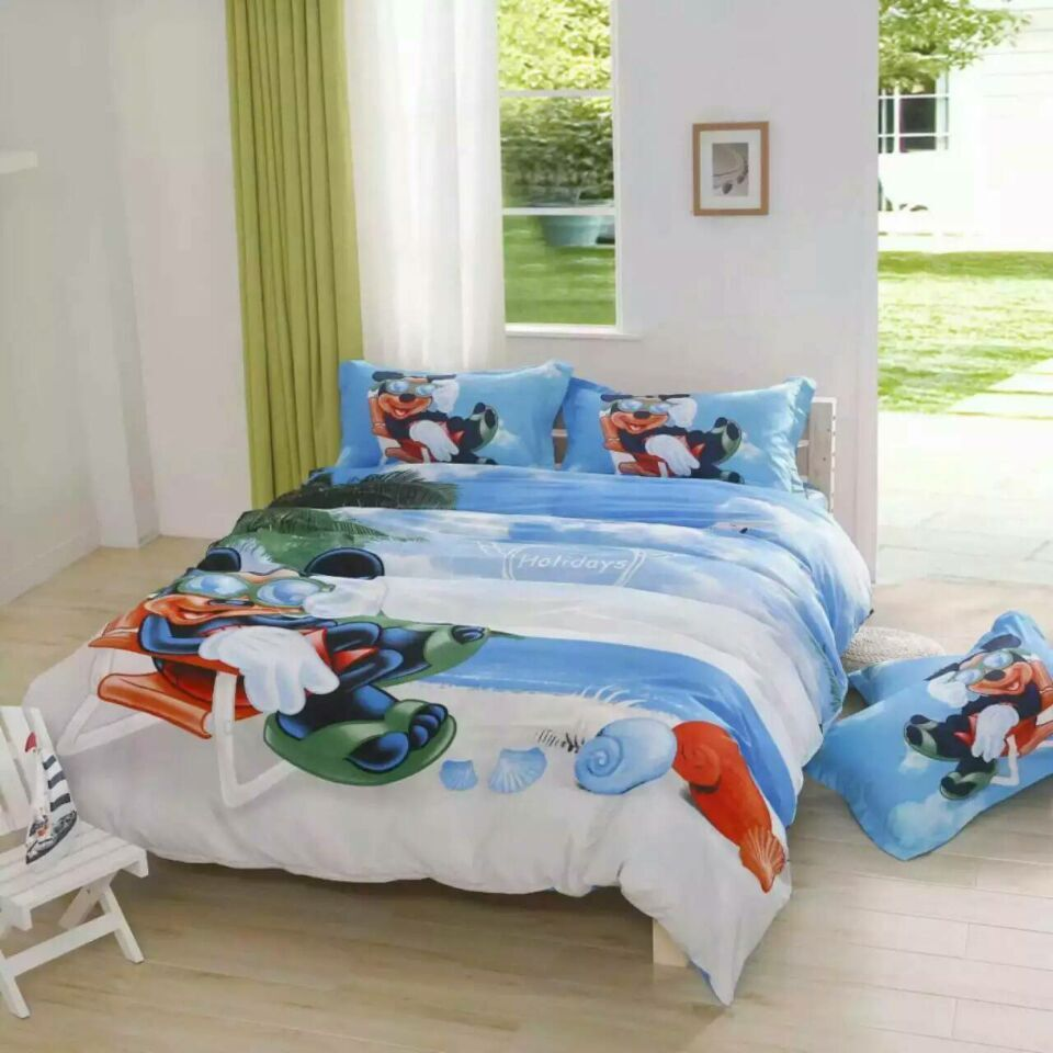 High quality Hot Sale mickey mouse Beach Blue bedding sets cotton Twin Full Queen Kids brand duvet cover flat sheet pillowcases(China (Mainland))