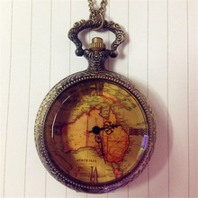 2016 fashion men and women Alipower Christmas Gift Roman numberals Retro Antique Chain AU Map Necklace Pendant Pocket Watch(China (Mainland))