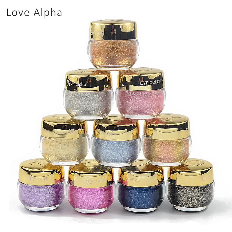 LOVE ALPHA 16 Colors Eye Shadow Professional Eyes Makeup Glitter Single Color Eyeshadow Gel Party Brand Cosmetics Flash Powder(China (Mainland))
