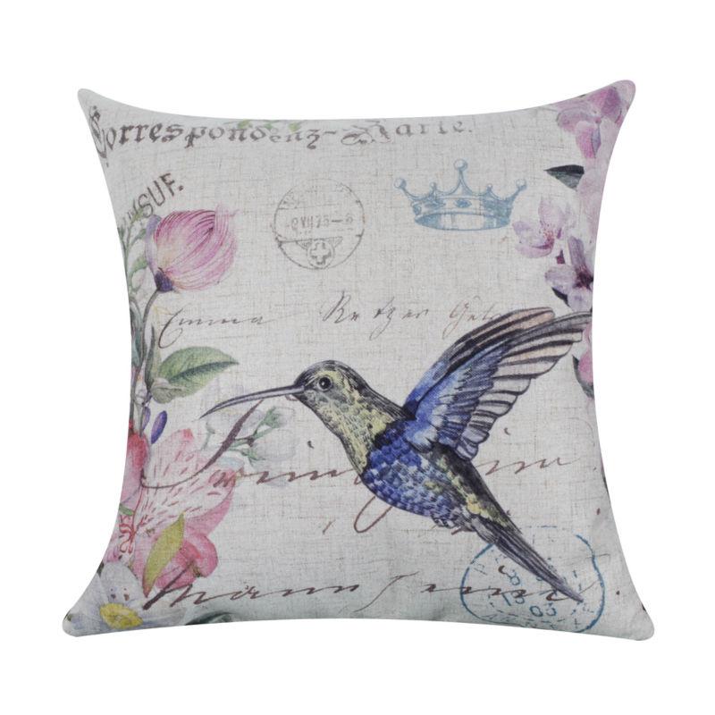 LINKWELL 45x45cm Fashion Bright Color Hummingbird Hummer Bird Linen Cushion Cover Pillow case Purple Flower Crown
