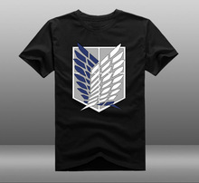 Mens Casual Anime Attack on Titan Scout Legion Logo 100% Cotton Short Sleeve O-Neck T-shirts Tops Tee Shirts