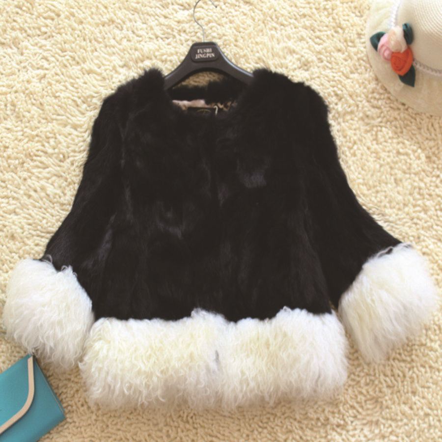 Фотография Luxury Black Rabbit Patchwork White Mongolia Sheep Fur Coats Faux Fur O Neck Jackets Female Plush Overcoat Casaco Feminino Pele