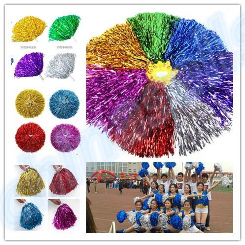 50pcs 50g Modish Cheer Dance Supplies Competition Cheerleading Pom Poms Flower Ball Lighting Up Party Cheering Fancy Pom Poms(China (Mainland))
