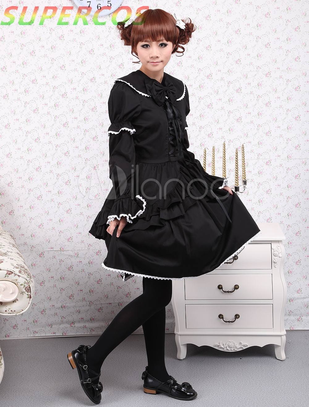 Free shipping! New Arrivals! High Quality! Cotton Black Long Sleeves Gothic Lolita Dress