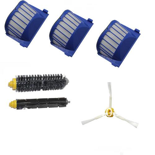 Aero Vac Filter + Brush 3 armed kit for iRobot Roomba 600 Series 620 630 650 660(China (Mainland))