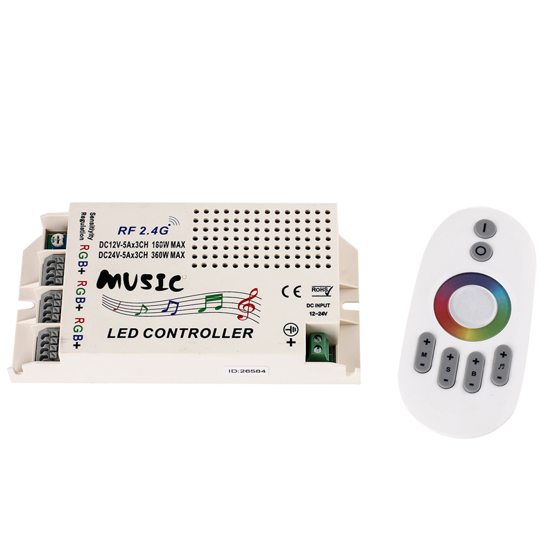 EPBOWPT DC 12V-24V 2.4GHz RF Touch Remote Control Music Intelligent Sonic Controller Dimmer for RGB 5050 3528 LED Strip Lights(China (Mainland))
