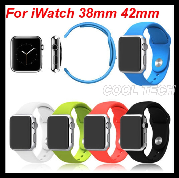For Apple Watch Silicone Watchbands Sports Edition Rubber Strap Wristband With build-in Adapter For iWatch 38mm 42mm 5 colors(China (Mainland))