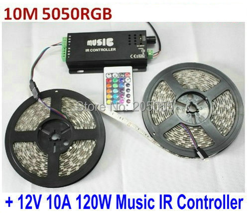 10M 5050SMD RGB Flexible LED Strips Lights 30LED/Meter Waterproof IP65 2*5M + 12V 10A 120W Music IR Controller Sound activated(China (Mainland))