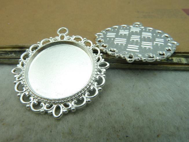10Pcs Antique Silver Cameo Setting Charm Pendant Jewlery Findings(China (Mainland))