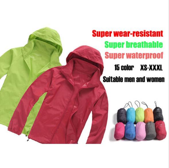 Men&Women Waterproof Windproof Hiking Jacket Camping Jacket New Style Fashion Coats Quick-Drying Windbreak Jackets Man 15Colors(China (Mainland))